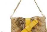 Yellow Modern Patent  Shoulder Bag